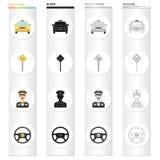 Carro, táxi, cargo, e o outro ícone da Web no estilo dos desenhos animados Viagem, transporte, ícones do tráfego na coleção do gr Fotografia de Stock Royalty Free
