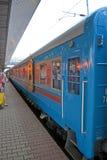 Carro-templo especial en el ferrocarril central en Kiev, Foto de archivo