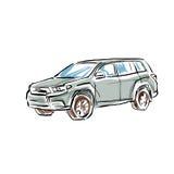 Carro tirado mão colorido no fundo branco, ilustração Imagens de Stock