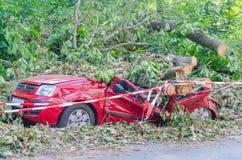 Carro totalizado, tempestade Fotografia de Stock Royalty Free