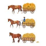 Carro traído por caballo con el heno ilustración del vector
