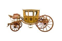 Carro traído por caballo del vintage aislado en el fondo blanco Imagenes de archivo