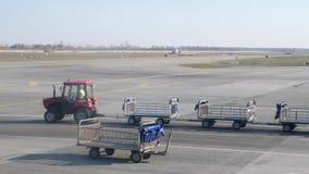 Carro vac?o del equipaje en el aeropuerto Traktor con los carros vacíos del equipaje que pasan por el pl almacen de video