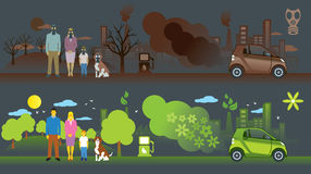 Carro velho e novo da ecologia Imagens de Stock Royalty Free