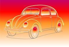 Carro velho em cores do por do sol ilustração stock
