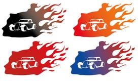 Carro velho no logotipo do fogo Imagem de Stock Royalty Free