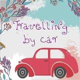 Carro velho retro em um fundo alaranjado com motivos florais em um trajeto ilustração stock