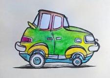 Carro verde ilustração royalty free