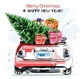 Carro vermelho à moda tirado mão com as caixas de presente bonitos do Natal e a árvore de abeto Grupo bonito do ano novo ilustração royalty free