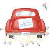 Carro vermelho com apenas sinal casado ilustração stock