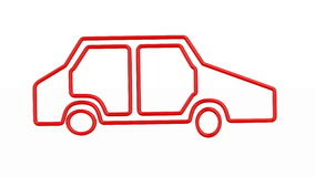 Carro vermelho da silhueta no fundo branco 3d isolados rendem filme