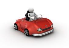 Carro vermelho do cabrio conduzido pelo caráter Imagens de Stock Royalty Free