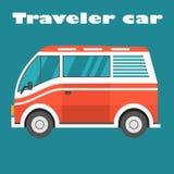 Carro vermelho do viajante Imagens de Stock Royalty Free