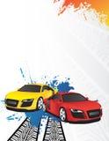 Carro vermelho e amarelo Imagens de Stock Royalty Free
