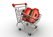 Carro vermelho no carro de compra ilustração do vetor