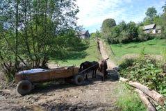 Carro viejo con los caballos Foto de archivo libre de regalías