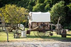 Carro viejo con un caballo en la parte posterior fotos de archivo libres de regalías