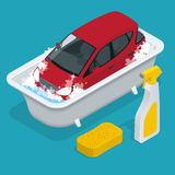 Carro washing Serviço da lavagem de carro Carro com sinal da lavagem de carros Ilustração isométrica lisa do vetor 3d Imagens de Stock Royalty Free