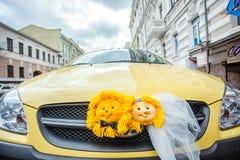 Carro Wedding decorado Foto de Stock