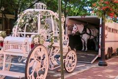 Carro y caballo de la boda listos para la asamblea fotografía de archivo