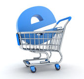 Carro y e-tienda stock de ilustración