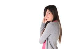 Carrocería lateral alegre femenina joven aislada en blanco Imágenes de archivo libres de regalías