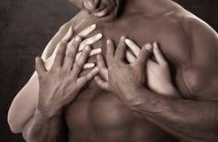 Carrocería masculina muscular Llevar a cabo las manos femeninas foto de archivo