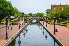 Carroll Creek Promenade Park em Federick, Maryland foto de stock royalty free