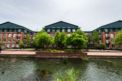 Carroll Creek Promenade Park in Federick, Maryland.  royalty free stock image