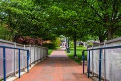 Carroll Creek Promenade Park i Federick, Maryland arkivbilder