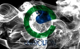Carrollton miasta dymu flaga, Teksas stan, Stany Zjednoczone Ameri Obrazy Stock