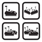 Carros abundantes ou ícone do dodgem em quatro variações Imagens de Stock
