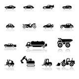 Carros ajustados do ícone e veículos industriais ilustração do vetor