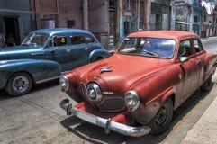 Carros americanos velhos em Havana velho, Cuba Imagem de Stock Royalty Free