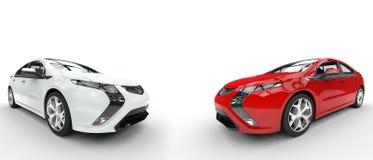Carros bondes brancos e vermelhos Fotos de Stock Royalty Free