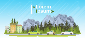 Carros bondes na estrada sobre a paisagem Forest Ecological Friendly Transport do verão das montanhas ilustração do vetor