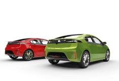 Carros bondes verdes e vermelhos Fotografia de Stock