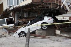 Carros causados um crash após o furacão Sandy Imagens de Stock Royalty Free