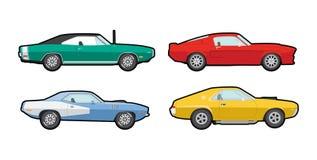 Carros coloridos do músculo do vetor ilustração do vetor