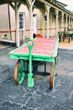 Carros da bagagem no depósito de trem Imagens de Stock