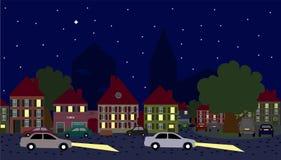Carros da cena da noite na cidade velha Foto de Stock