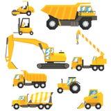 Carros da construção e grupo amarelos da maquinaria de veículos coloridos em ilustrações realísticas do projeto ilustração royalty free