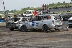 Carros da demolição na ação Foto de Stock Royalty Free