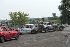 Carros da demolição na ação Fotos de Stock Royalty Free