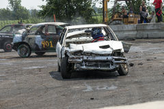 Carros da demolição na ação Fotografia de Stock