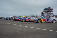 Carros da reunião em Red Bull GRC Rallycross global Foto de Stock Royalty Free