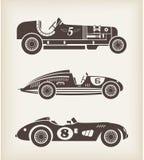 Carros de competência do esporte do vintage do vetor Foto de Stock Royalty Free