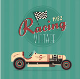 Carros de competência do esporte do vintage do vetor Fotografia de Stock