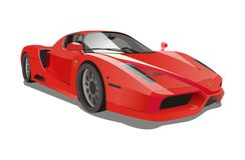 Carros de competência vermelhos de ferrari Enzo do vetor Foto de Stock