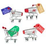 Carros de compra com os Tag do disconto e da venda Foto de Stock Royalty Free